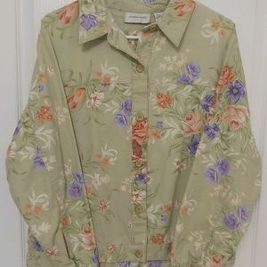Women's Lemon Grass Floral Sage Denim Jacket